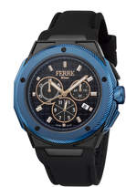 Ferré Milano Men's 45mm Stainless Steel Chronograph Watch with Rubber Strap, Black/Blue