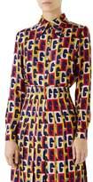 Gucci G-Sequence Print Silk Shirt