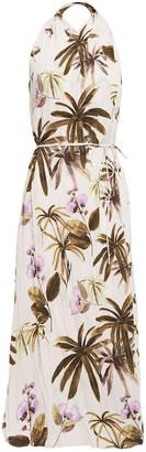 Vince Belted Floral-print Plisse-crepe Midi Dress