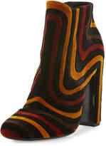 Salvatore Ferragamo Feel Striped Velour Ankle Boot, Nero/Ecorce/Polle