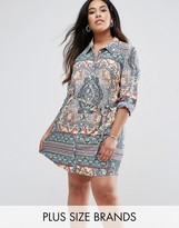 AX Paris Plus Shirt Dress In Kaleidoscope Print