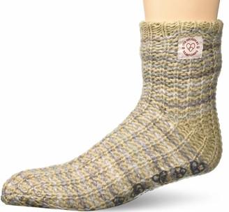 Dearfoams Women's Space-dye Textured Knit Fluffy Slipper Sock