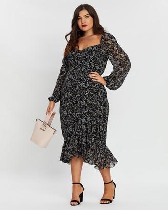 Missguided Curve Milkmaid LS Asymmetrical Hem Midi Dress
