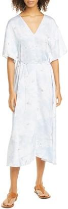 Vince Painted Magnolia Tie Waist Midi Dress