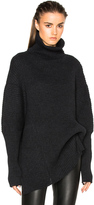 Ann Demeulemeester Wool Turtleneck Asymmetric Sweater
