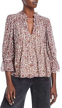 Velvet by Graham & Spencer Wilona Printed Pintucked Blouse