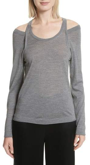 Alexander Wang Wash & Go Cold Shoulder Merino Wool Sweater