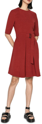 Cue Rust Crepe Belted Dress