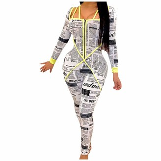 AOGOTO Women Sports Long Sleeve Jumpsuit Deep V Neck Colorblock Zip Slim Playsuit Yellow