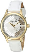 Kenneth Cole New York Women's 'Transparency' Quartz Stainless Steel and White Leather Dress Watch (Model: 10026008)