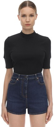 Courreges Ribbed Cotton Blend Knit Top