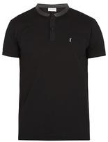 Saint Laurent Leather-collar Cotton-piqué Polo Shirt