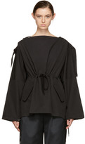 Craig Green Black Slash Neck Hooded Blouse