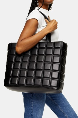 Topshop RILEY Black Quilted Tote Bag