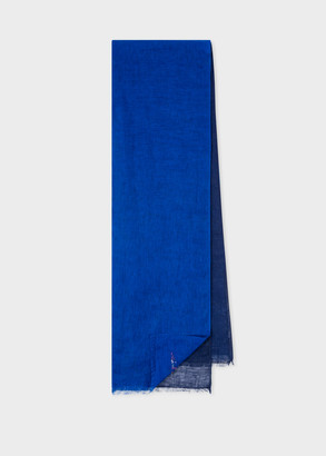 Paul Smith Men's Navy Split Colour Linen Scarf