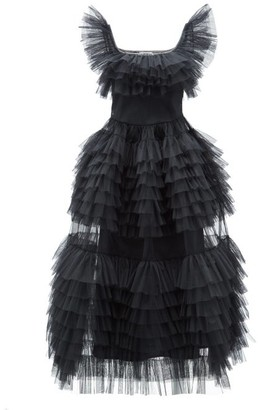 Molly Goddard Pascale Frilled Tiered Tulle Dress - Black