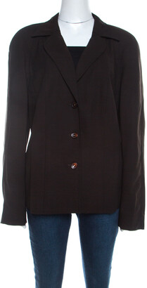 Escada Dark Brown Stretch Wool Raglan Sleeve Paneled Blazer XL