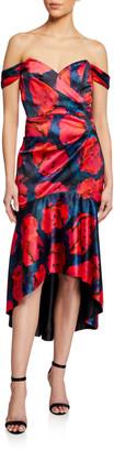 Parker Black Cesarina Printed Satin Off-the-Shoulder High-Low Gown