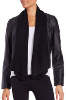 BB Dakota Drape Front Leatherette Cardigan