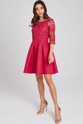 Little Mistress Frances Hot Pink Lace Bardot Skater Dress