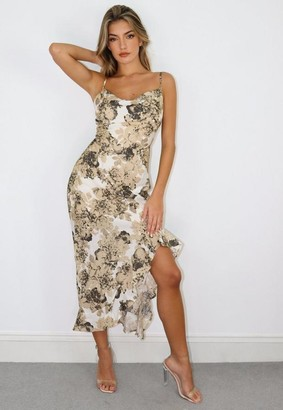 Missguided Cream Floral Print Cami Ruffle Side Midi Dress