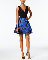 Xscape Evenings Illusion Floral Fit & Flare Cocktail Dress