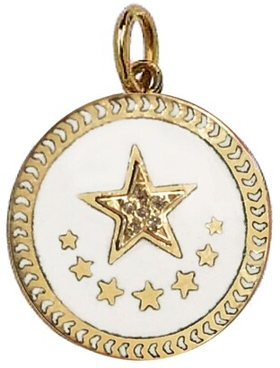 Foundrae Petite Strength White Champleve Yellow Gold Medallion