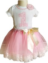 Perfect Pairz 1st Birthday Outfit Baby Girl Tutu - Pink Lace