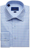 David Donahue Men's Trim-Fit Tonal Gingham Dress Shirt