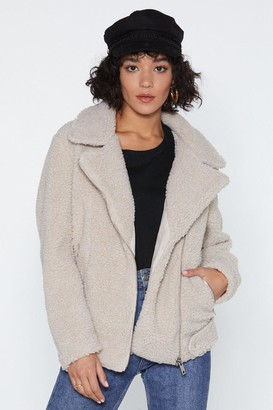 Nasty Gal Womens Teddy Oh Baby Faux Fur Coat - White - L