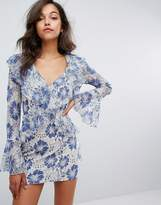 Missguided Lace Ruffle Plunge Dress