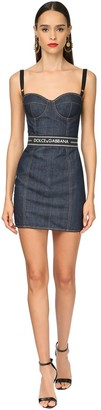 Dolce & Gabbana Logo Band Cotton Denim Mini Dress