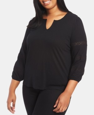 1 STATE Trendy Plus Size Lace-Inset Top