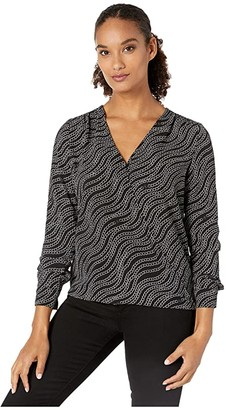 MICHAEL Michael Kors Chain Long Sleeve Wrap Top (Black/Silver) Women's Clothing
