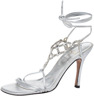 Stuart Weitzman Silver Crystal Embellished Leather Open Toe Ankle Tie Sandals Size 36