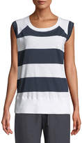 Allen Allen Block-Striped Sleeveless Tee
