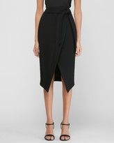 Express High Waisted Belted Wrap Front Pencil Skirt