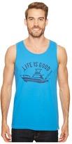 Life is Good Fish Boat Surfer Tank Men's T Shirt