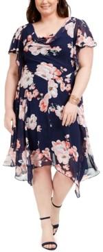Robbie Bee Plus Size Cowlneck Floral-Print Chiffon Dress