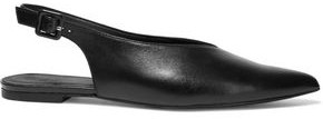 Iris & Ink Valerie Leather Slingback Point-toe Flats