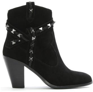 Ash Ilona Black Suede Studded Western Boots