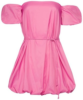 STAUD Ash Puff Sleeve Off-The-Shoulder Mini Dress