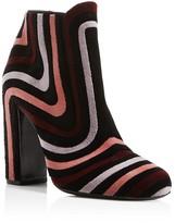 Salvatore Ferragamo Feel Velour Stripe Block Heel Booties