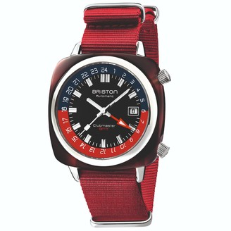 Briston Clubmaster Gmt Traveller Acetate, Swiss Movement - Special Edition with Red Nato Strap