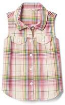 Gap Watermelon plaid sleeveless shirt