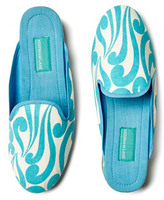 Isabella Collection Slippers, Aqua/Cream