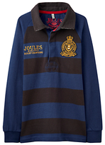 Joules Little Joule Boys' Dodger Bar Strike Rugby Shirt, Blue