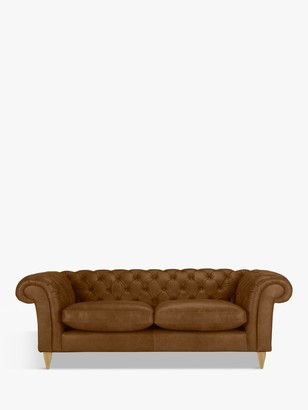 John Lewis & Partners Cromwell Chesterfield Grand 4 Seater Leather Sofa, Light Leg, Demetra Light Tan