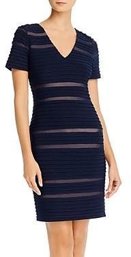 Adrianna Papell Pintucked Spliced Sheath Dress