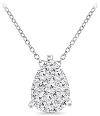 Auriya 14k Gold 3/8ct TDW Pear Shaped Pave Diamond Necklace by Auriya